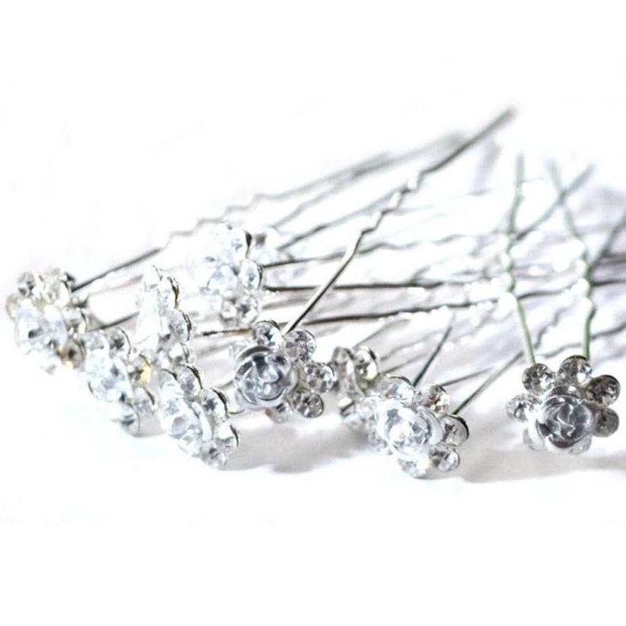 Hairpins – Zilver Grijs Roosje - 5 stuks-2