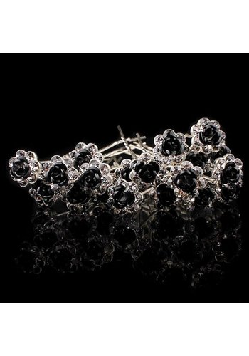 Hairpins – Zwart Roosje - 5 stuks