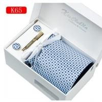 thumb-Elegante Stropdas Set in Geschenkdoos - inclusief Manchetknopen, Pochet en Dasspeld - K65 - Blauw-5
