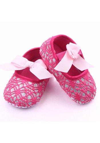 Roze Ballerina's / Babyschoentjes met Glitter - 0 tot 6 maanden
