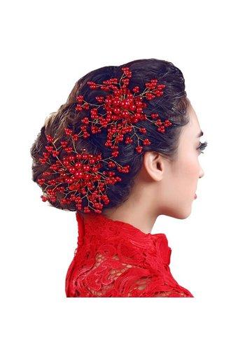 Stijlvol Rood Haar Sieraad / Haarkam met Kristallen en Rode Parels