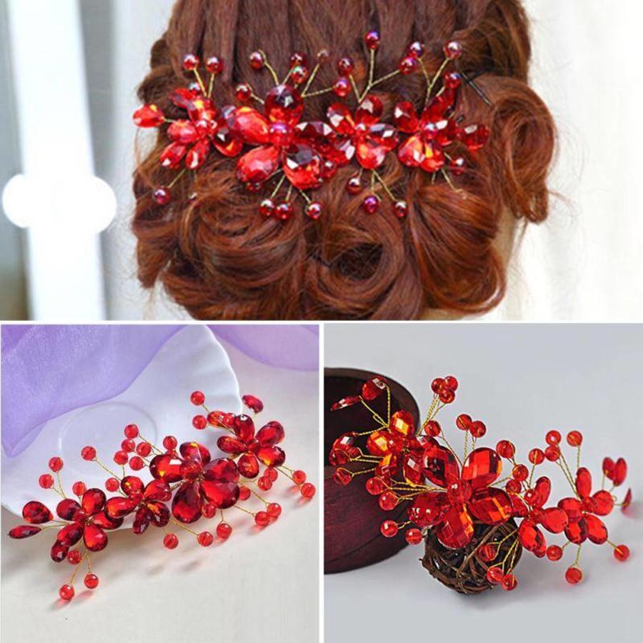 Elegant Haar Sieraad met Rode Kristallen en Rode Diamanten-6
