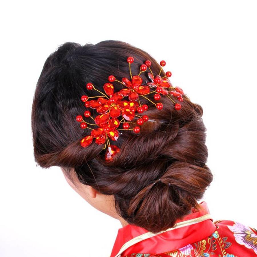 Elegant Haar Sieraad met Rode Kristallen en Rode Diamanten-5