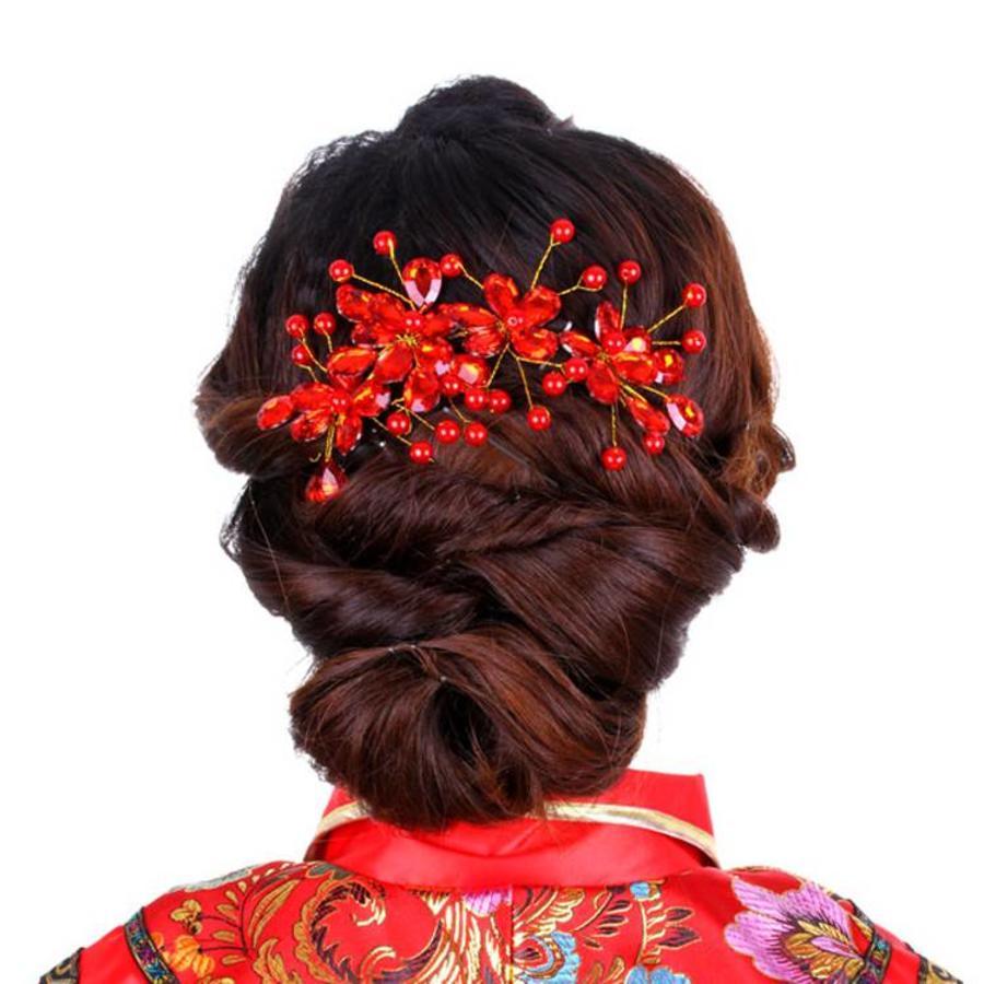 Elegant Haar Sieraad met Rode Kristallen en Rode Diamanten-4