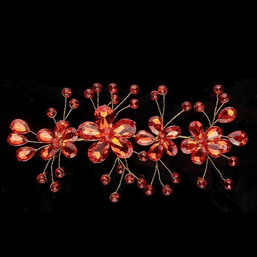Elegant Haar Sieraad met Rode Kristallen en Rode Diamanten-2