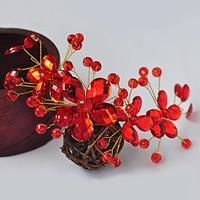 thumb-Elegant Haar Sieraad met Rode Kristallen en Rode Diamanten-7