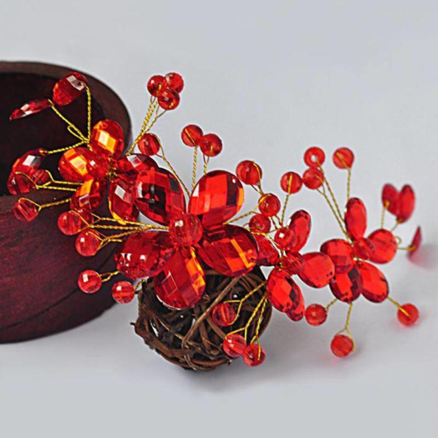 Elegant Haar Sieraad met Rode Kristallen en Rode Diamanten-7