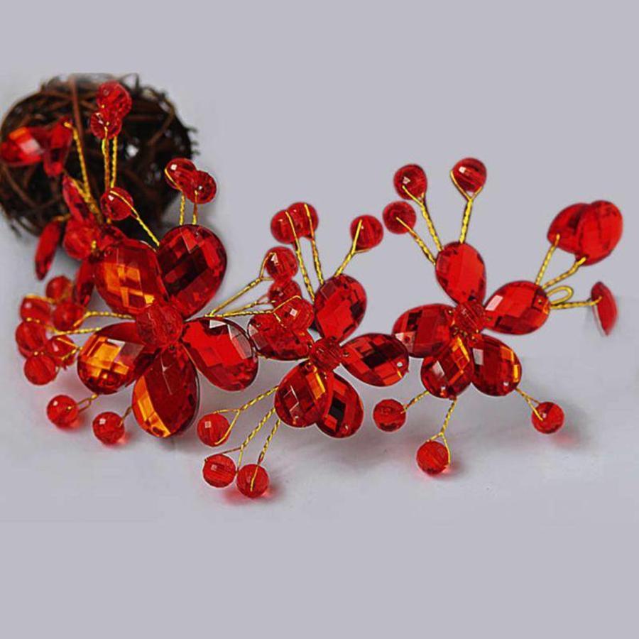 Elegant Haar Sieraad met Rode Kristallen en Rode Diamanten-8