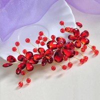 thumb-Elegant Haar Sieraad met Rode Kristallen en Rode Diamanten-9