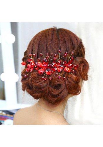 Elegant Haar Sieraad met Rode Kristallen en Rode Diamanten