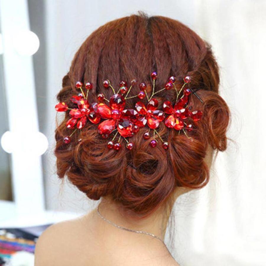 Elegant Haar Sieraad met Rode Kristallen en Rode Diamanten-1