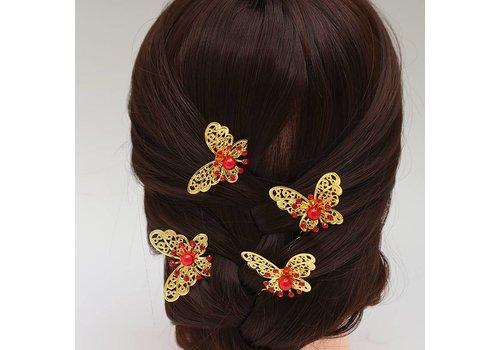 Hairpin - Goudkleurige Vlinder met Rode Parel