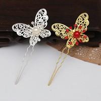 thumb-Hairpin - Goudkleurige Vlinder met Rode Parel-4