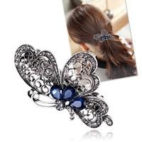 thumb-Chique Vlinder Haarclip - Blauw-3