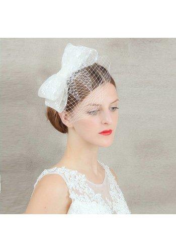 Chique Fascinator / Birdcage Veil - Wit