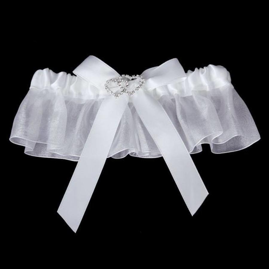 Kousenband Wit met Fonkelende Hartjes-3