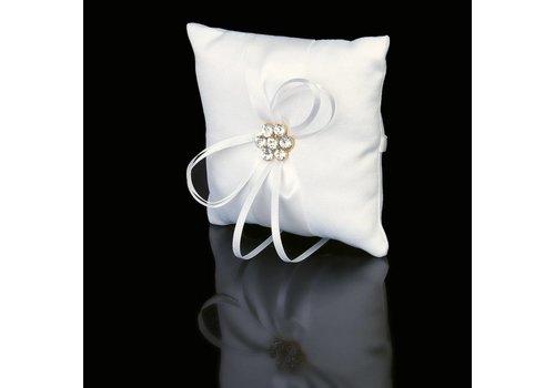 Ringkussen Wit met Fonkelende Diamanten