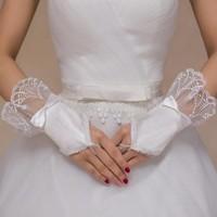 Elegante Ivoorkleurige Bruidshandschoenen