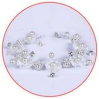 thumb-Bloemetjes Haar Sieraad met Diamantjes en Pareltjes-5