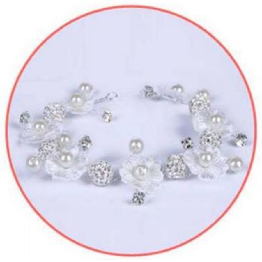 Bloemetjes Haar Sieraad met Diamantjes en Pareltjes-5