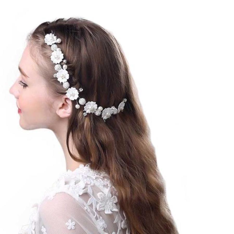 Bloemetjes Haar Sieraad met Diamantjes en Pareltjes-4