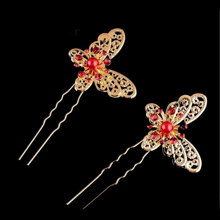 Hairpin - Goudkleurige Vlinder met Rode Parel-2