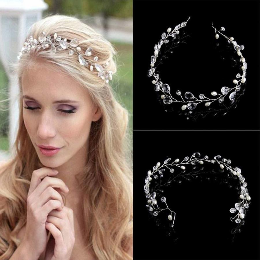 Elegant Haar Sieraad met Parels en Kristallen - Zilver-1