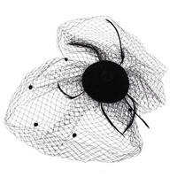 thumb-SALE - Elegante Zwarte Fascinator / Birdcage Veil-4