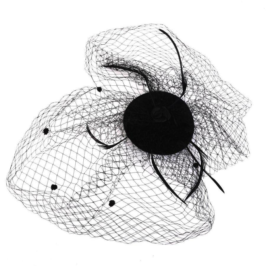 SALE - Elegante Zwarte Fascinator / Birdcage Veil-4