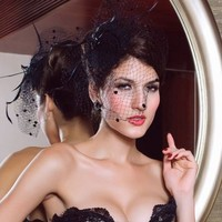 thumb-SALE - Elegante Zwarte Fascinator / Birdcage Veil-7