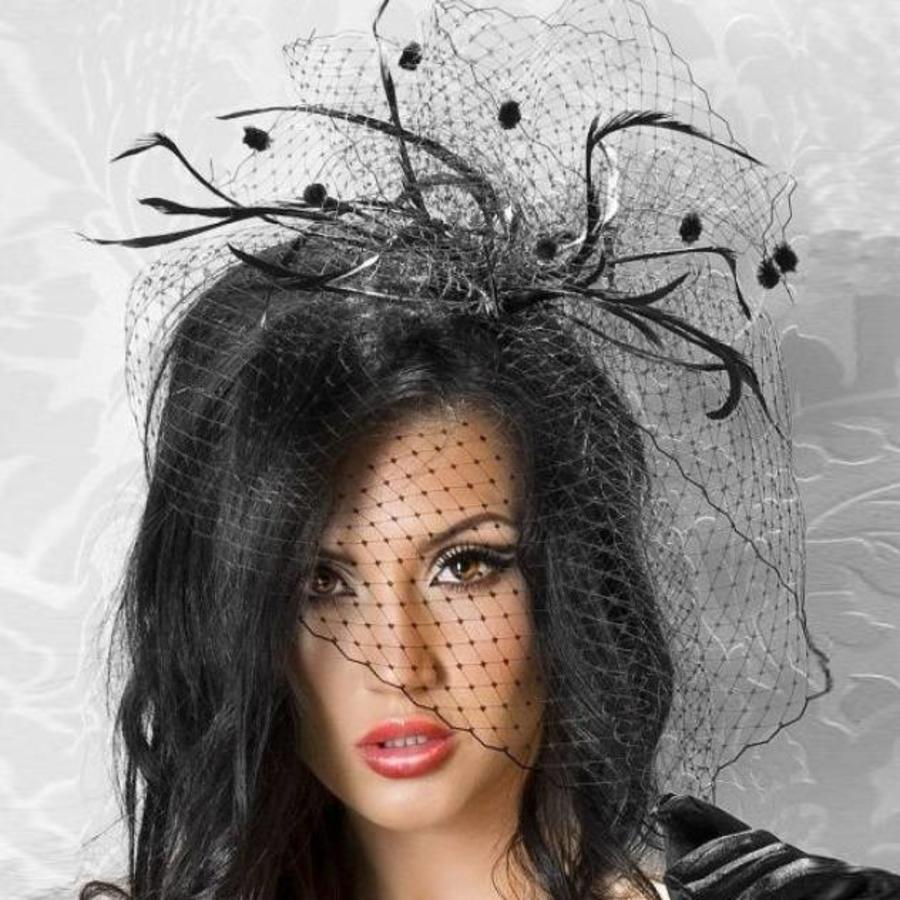 SALE - Elegante Zwarte Fascinator / Birdcage Veil-1
