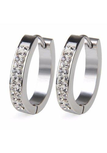 Zilverkleurige Oorbellen met Diamanten