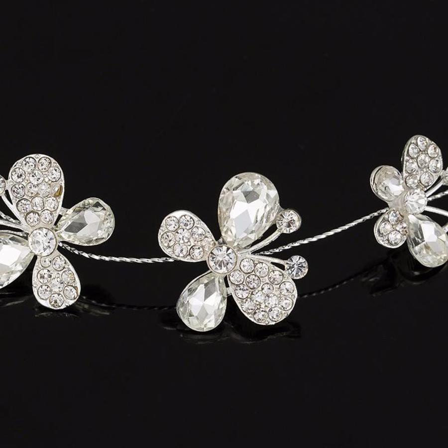 SALE - Elegant Haar Sieraad met Kristallen, Vlinders en Bloemen-3