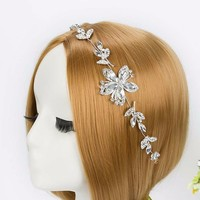 thumb-Elegant Haar Sieraad met Kristallen Bloemen-1