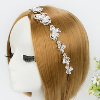 thumb-Elegant Haar Sieraad met Ivoorkleurige Parel Vlinders en Kristallen-1