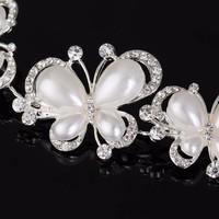 thumb-Elegant Haar Sieraad met Ivoorkleurige Parel Vlinders en Kristallen-2