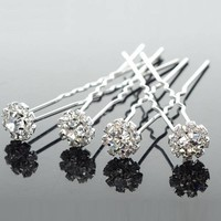 thumb-Hairpin - Fonkelende Bloem Met Strass - 5 stuks-1