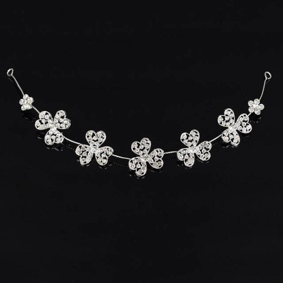 Elegant Haar Sieraad met Fonkelende Kristallen Bloemen-1