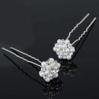 thumb-Hairpins / Haarpinnen met Parels en Diamantjes - 4 stuks-1