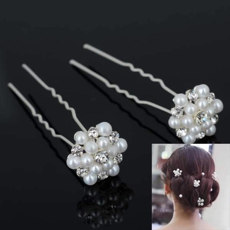 Hairpins / Haarpinnen met Parels en Diamantjes - 4 stuks-2