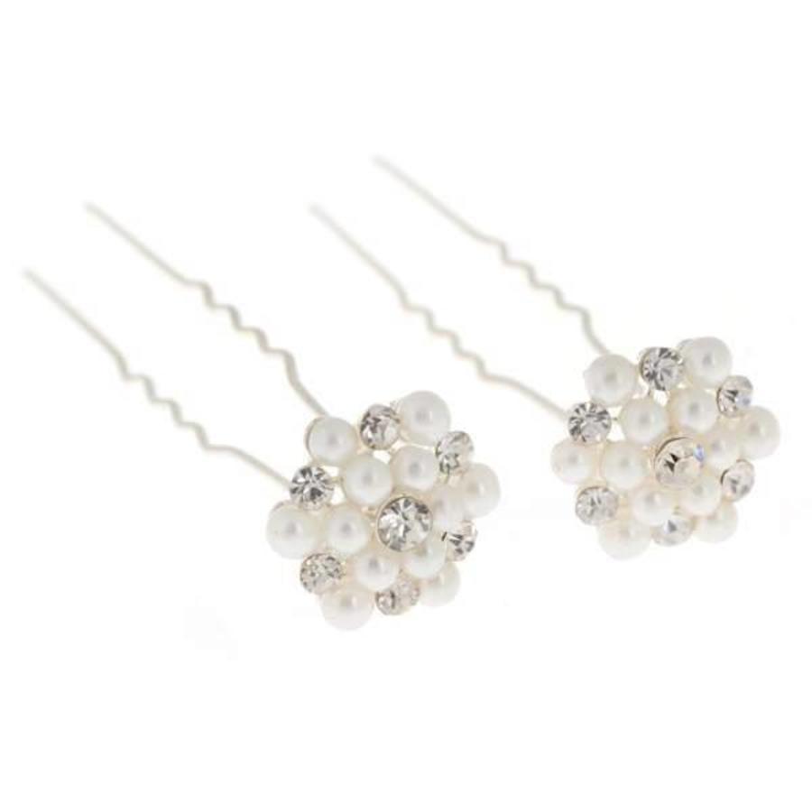 Hairpins / Haarpinnen met Parels en Diamantjes - 4 stuks-4