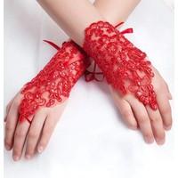 thumb-Elegante Bruidshandschoenen - Rood-1