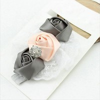 Haarband Roosjes - Roze / Grijs