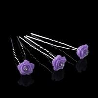 thumb-Hairpins – Fonkelende Bloem - Paars - 5 stuks-1
