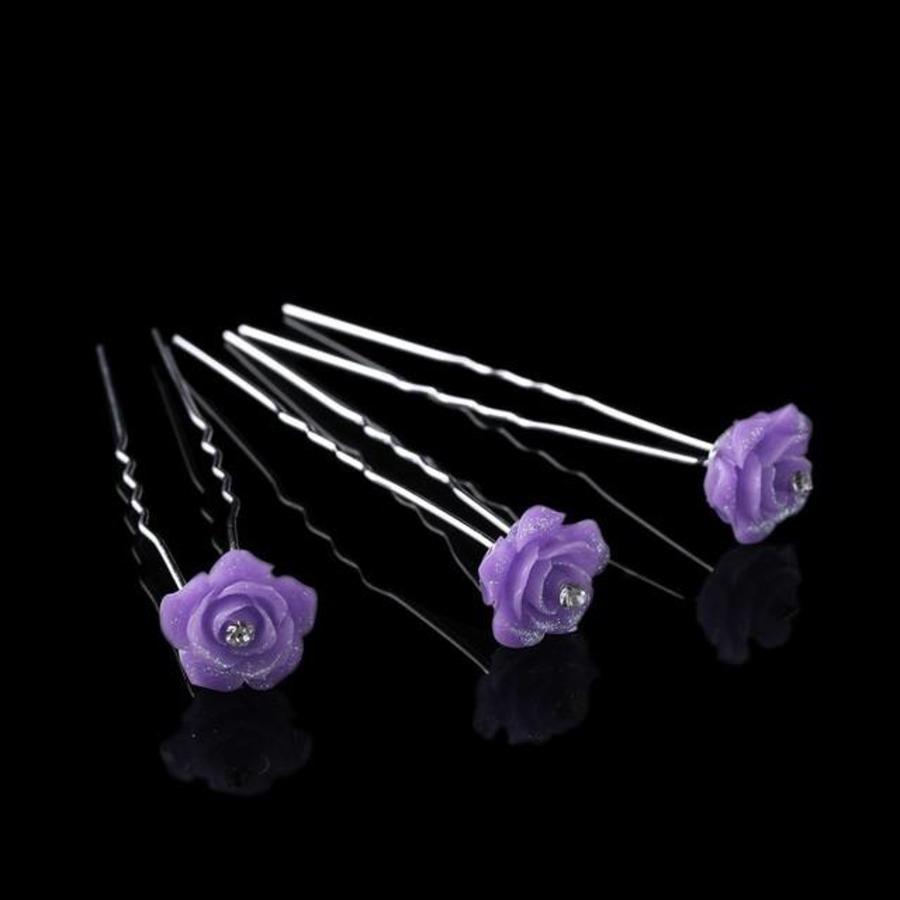 Hairpins – Fonkelende Bloem - Paars - 5 stuks-1