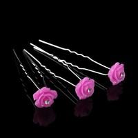 thumb-Hairpins – Fonkelende Bloem - Roze - 5 stuks-1