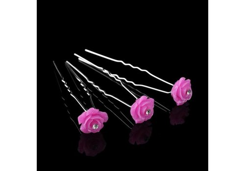 Hairpins – Fonkelende Bloem - Roze - 5 stuks