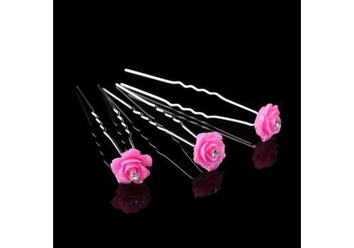 Hairpins – Fonkelende Bloem - Fel Roze - 5 stuks