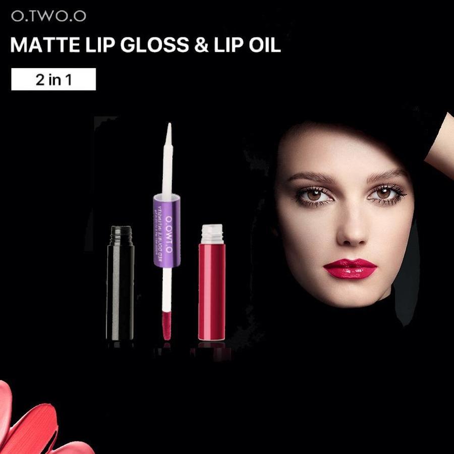 2-in-1 Matte  Lipgloss & Lip Oil - Color 01 Naked Orange-7