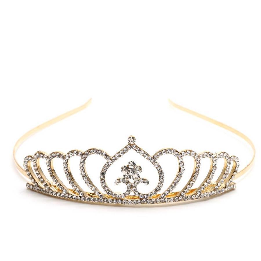 Chique Goudkleurige Tiara / Kroon Heart-1